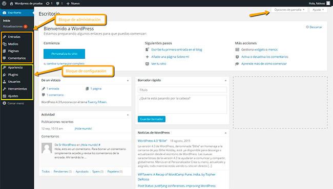 Pantalla de administración WordPress 2