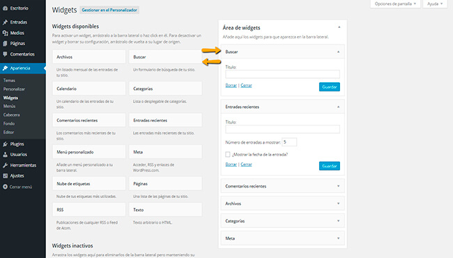 Configurar Widgets de WordPress