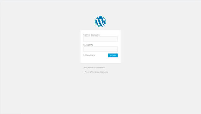 Pantalla Login de WordPress