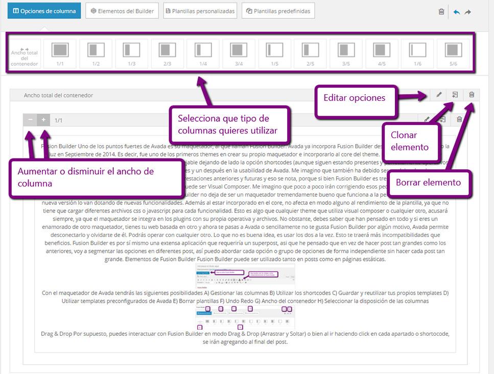 Opciones de edición en Fusion Builder de Avada