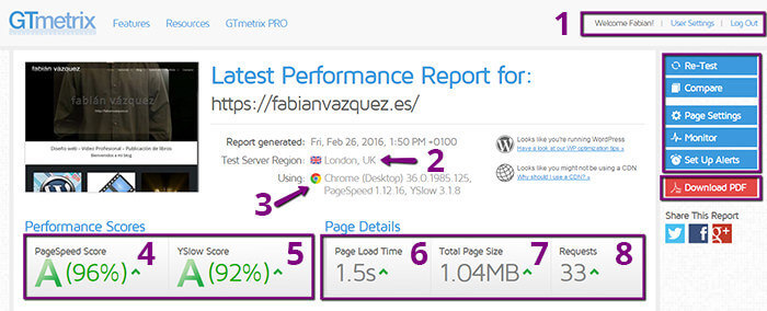 Test pagespeed visual general