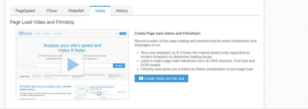 Gtmetrix - Pestaña History y Video