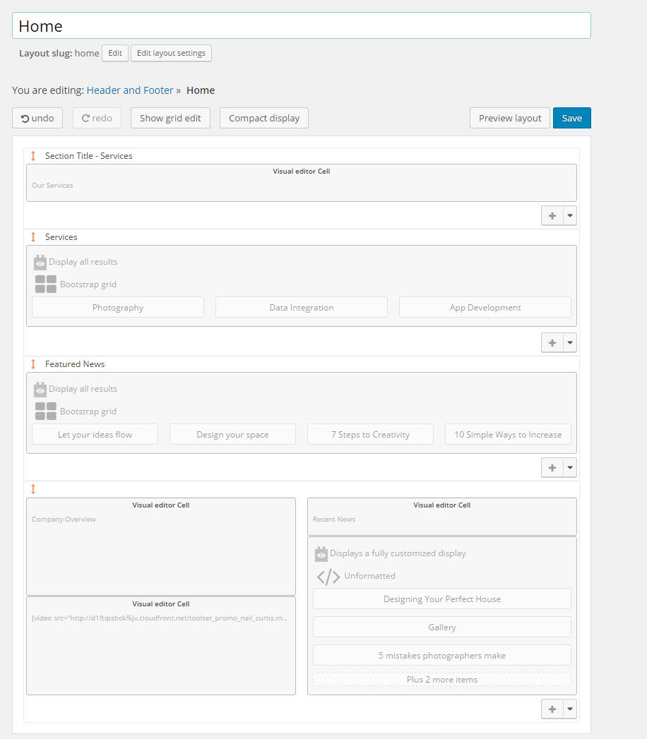 Crear diseños de página con Layouts