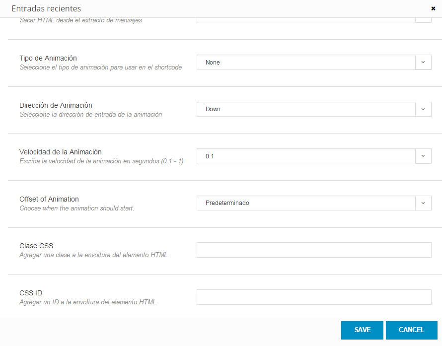 Shortcodes en Avada - Configuración del shortcode de entradas recientes