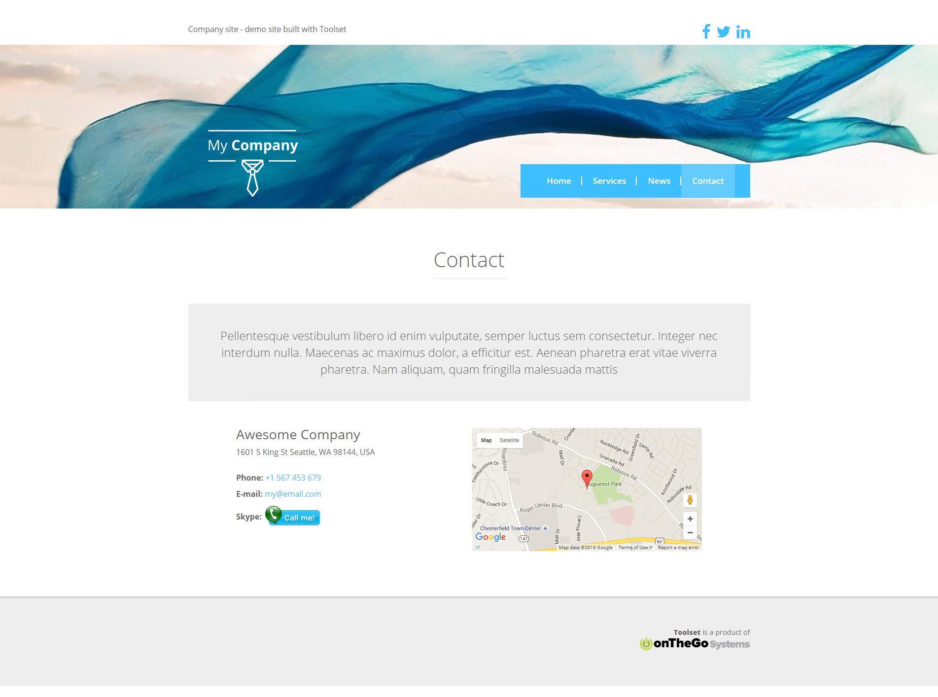 Una dirección en una página de contacto
