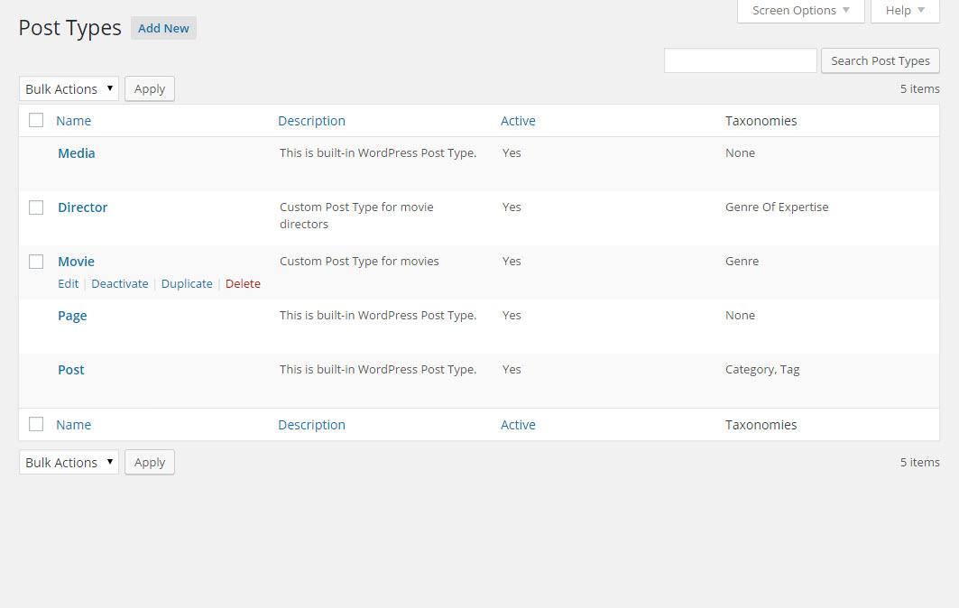 Crear tipos de post personalizados con Types