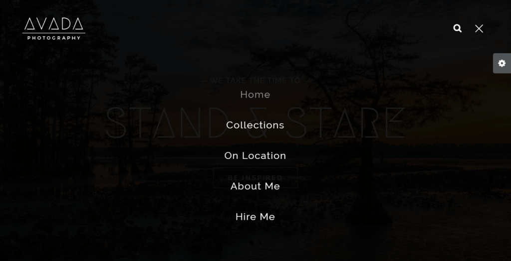 Demo fotografia Avada 4.0 menu