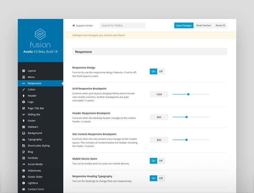Panel principal de configuración en Avada 4.0