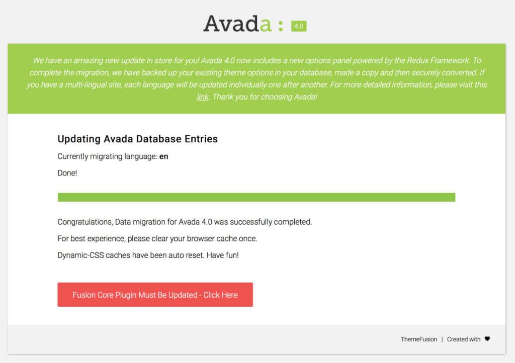Proceso de migración al actualizar Avada a 4.0