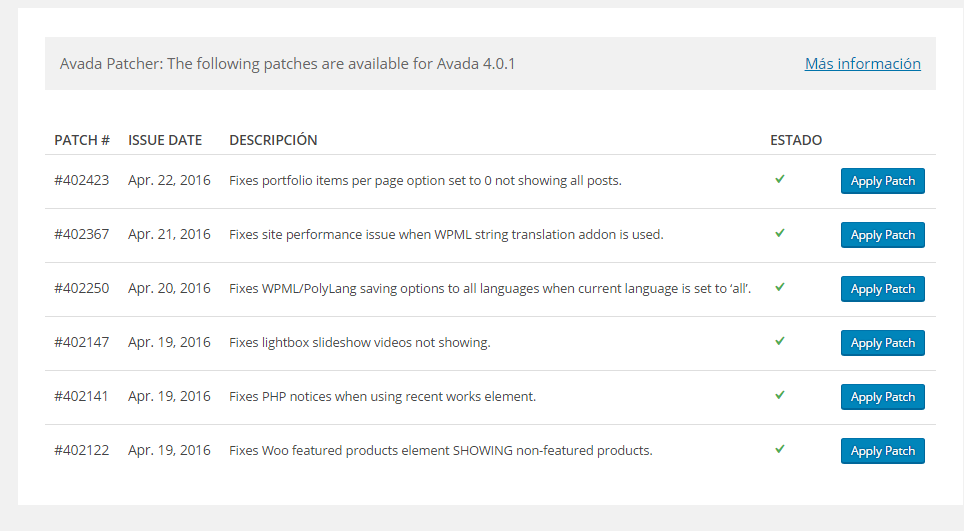 Actualización in site de Avada 4.0