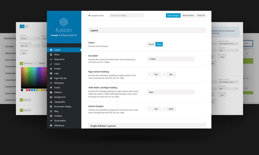 Nuevo panel de configuración en Avada 4.0