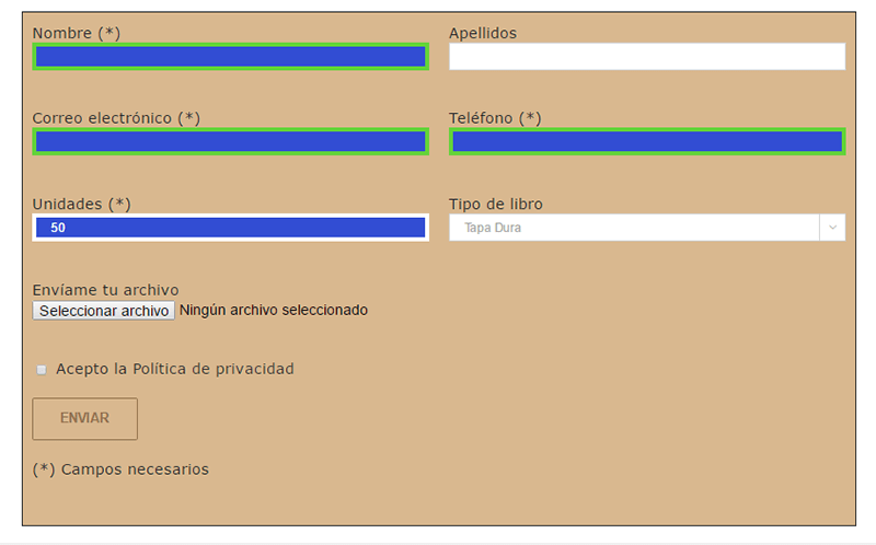 Aplicando colores y estilo en Contact Form 7