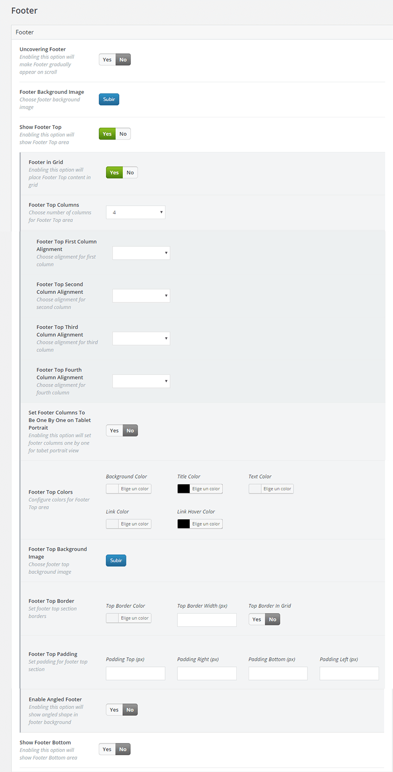 Configuración de las opciones del footer en Bridge Theme