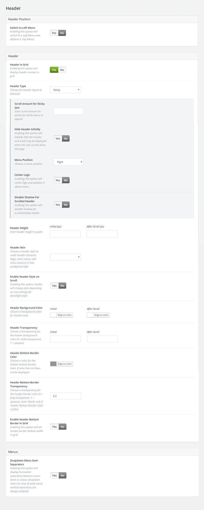 Configuración de las opciones de Header en Bridge Theme