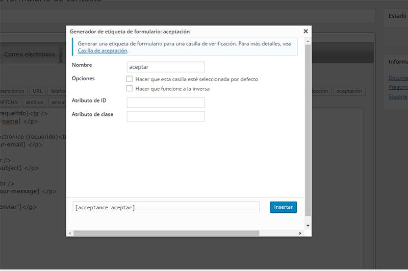 Pantalla de configuración de campo aceptación en Contact Form 7