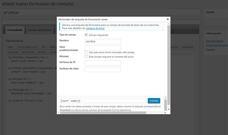 Pantalla de configuración de campo texto en Contact Form 7