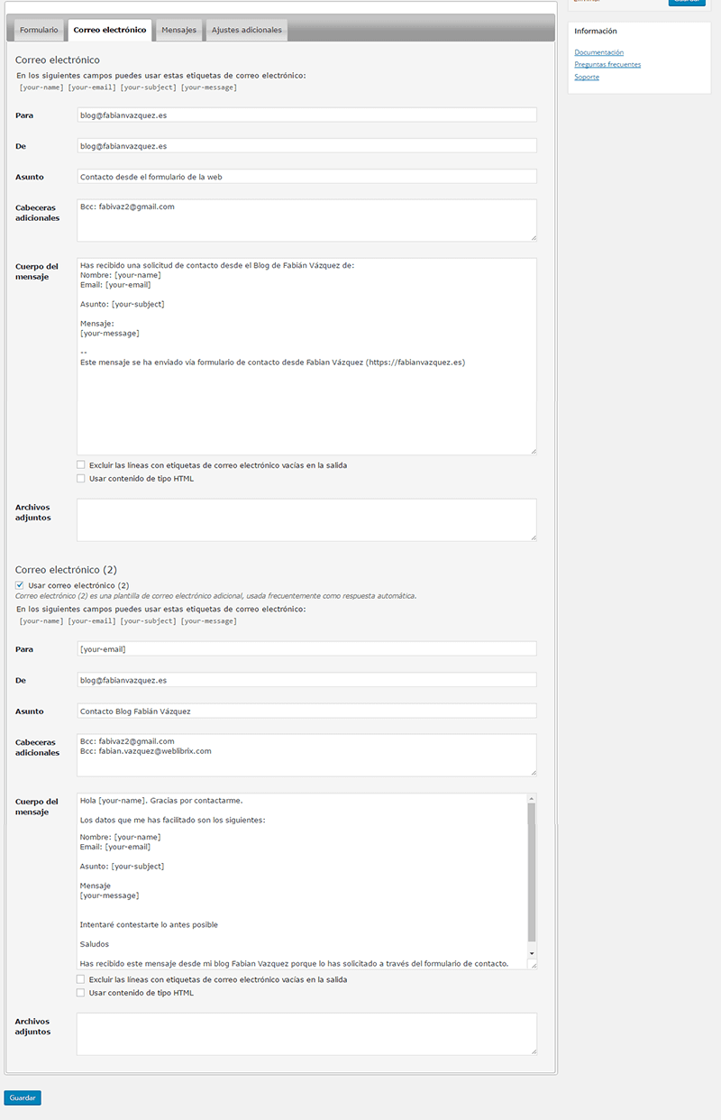 Pantalla de configuración de correo electrónico de Contact form 7