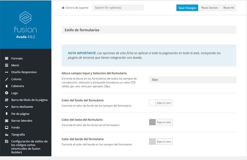 Opciones de configuración en Avada para Contact Form 7