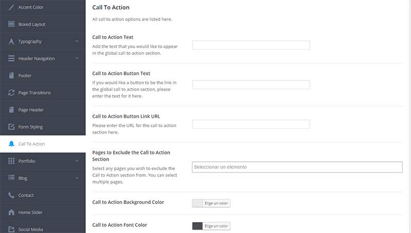 Panel de configuración general en Salient Theme - Call to action