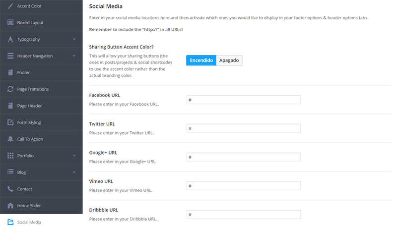 Panel de configuración general en Salient Theme - Social media