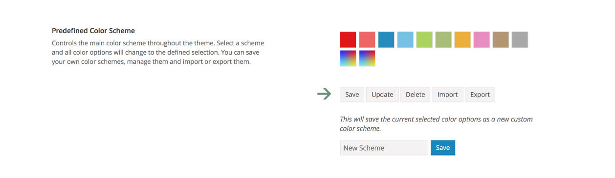 Opciones de gestión para los colores en Avada 5.0