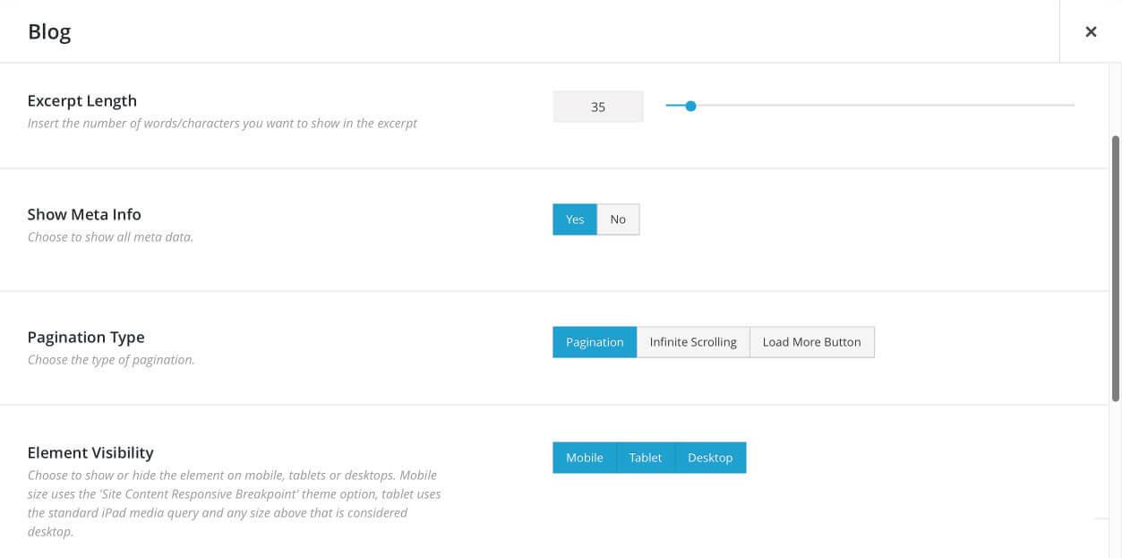 Nuevo estilo en los paneles de Fusion Builder de Avada 5.0