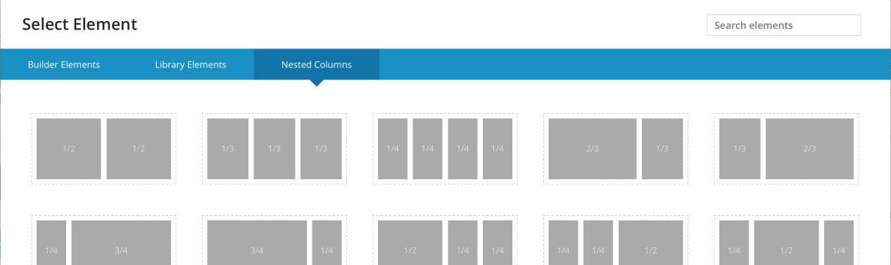 Disposición de las columnas anidadas en Fusion Builder