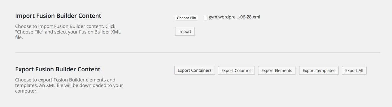Importar, exportar contenido en Fusion Builder