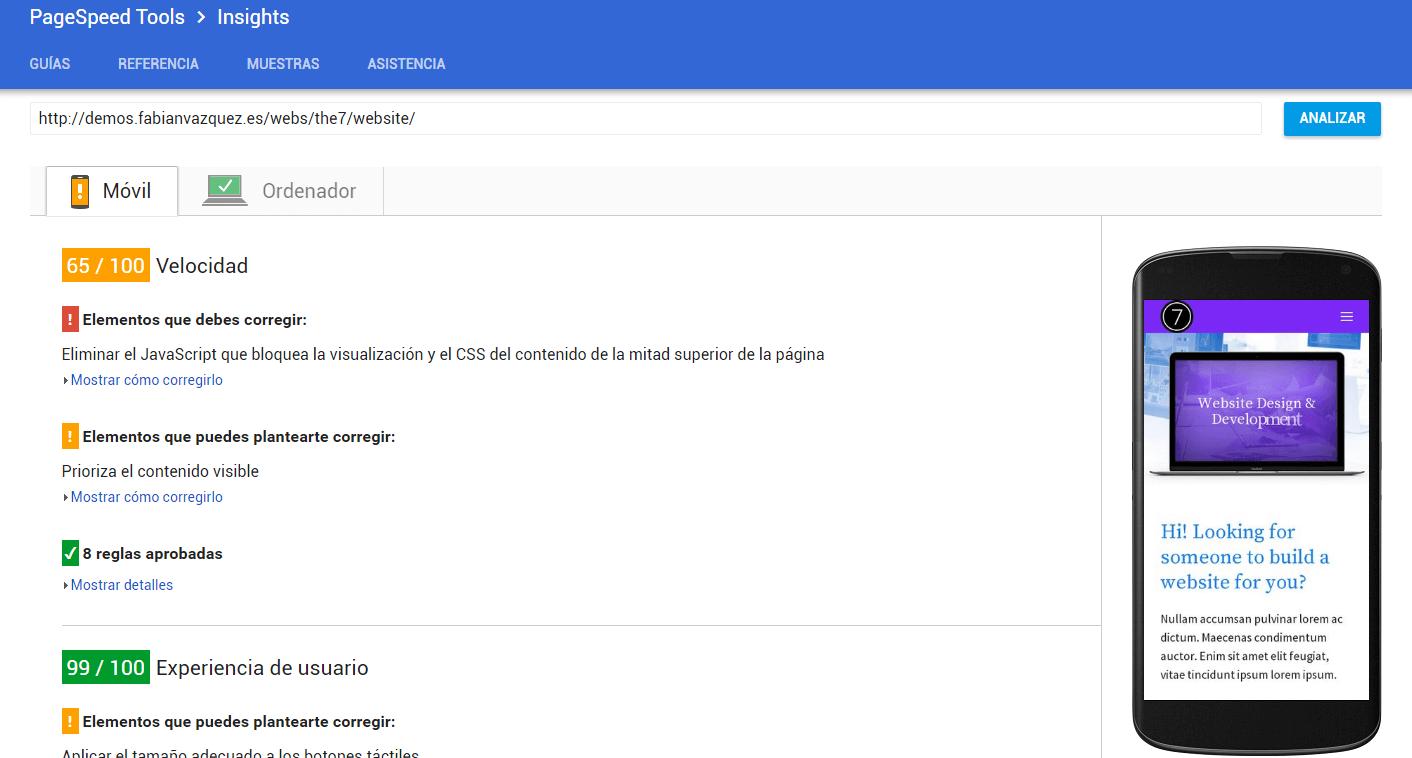 Google Page Speed para The 7